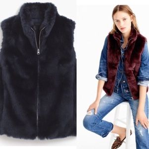 Nwt JCrew navy faux fur vest